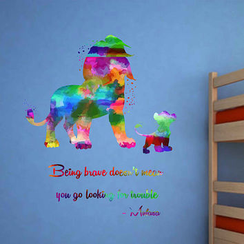 kcik2040 Full Color Wall decal Watercolor Character Disney Sticker Disney children's room The Lion King quote