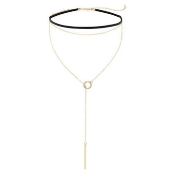 Black Leather Fashion Choker and Gold Tone Lariat Fashion Necklace Set