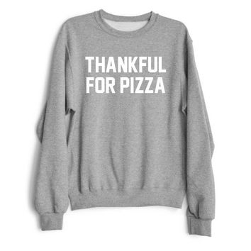 THANKFUL FOR PIZZA Women's Casual Black Gray Pink & White Crewneck Sweatshirt