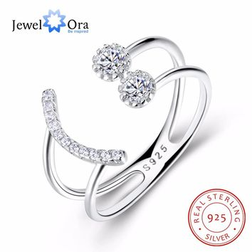 Smiley Face Geometric Design Adjustable 925 Sterling Silver Rings For Womens Rhinestone Fashion Party Jewelry(JewelOra RI103331)