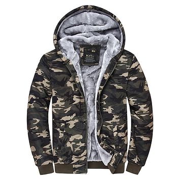 Winter hoodie jacket Camouflage Coat 2017 Hooded winter dress Jackets Printed Wear Velvet Zipper sweatshirt jacket hoodie DS109
