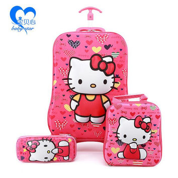 2016  fashion luggage  6D kids luggage with wheels  EVA hello kitty luggage sets  (suitcase+Lunch box+ pencil box) kids gift