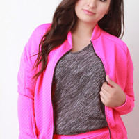 Embossed Quilted Pattern Zip Up Bomber Jacket