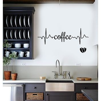 Vinyl Wall Decal Coffee Logo Word Heartbeat Energy Heart Beans Stickers (3714ig)