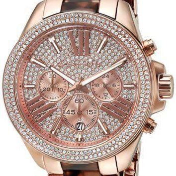 MICHAEL KORS MK6159 WREN Rose Gold Blush Tortoise Acrylic Crystal Women Watch