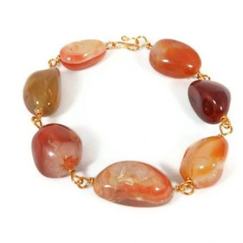 Wire Wrapped Red Agate Bracelet