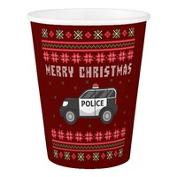 Police Car Ugly Christmas Sweater Paper Cup
