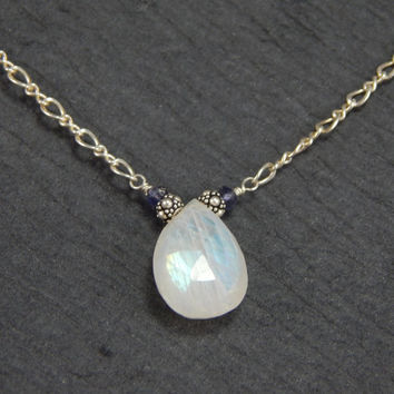 large moonstone necklace, sterling silver chain, iolite jewelry, wire wrapped necklace, delicate jewelry