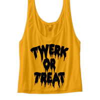 TWERK OR TREAT CROP TOP HALLOWEEN COSTUMES TWERK SHIRT FUNNY SHIRTS HALLOWEEN STUFF SHIRTS WITH WORDS TWERK CLOTHES TRICK OR TREAT SHIRT
