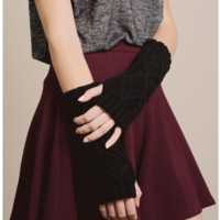 Brocade Knit Fingerless Gloves
