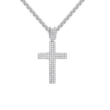 Men's Hip Hop Iced Out 3 Row Mini Cross Silver Pendant