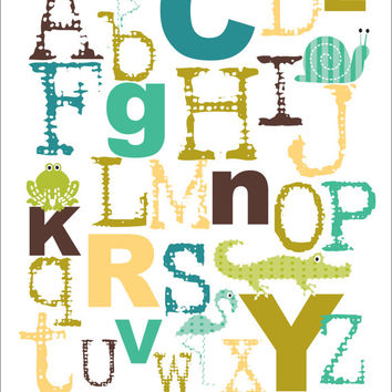Children's Alphabet Art Print, Nursery Wall Art, Playroom art - blue and green or custom colors with animals 8x10 print