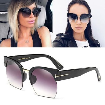 JackJad 2017 Fashion SAVANNAH Style Half Frame Cat Eye Sunglasses Gradient Popular Street Snap Sun Glasses Oculos De Sol 97393