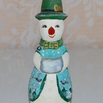 SALE Wood Snowman Ornament Hand Painted Wooden Holiday Ornament Vintage Handpainted Christmas Ornaments