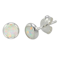 925 Sterling Silver Opal Earrings Iridescent Pearl Gemstone Studs 6mm