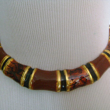 "Goldtone Enameled Fall Autumn Colors Golden Brown Black Enamel Hinged Very Slim Small Choker Collar Silhouette Necklace 13""Long Weight 62.6g"
