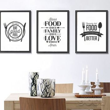 Bless The Food Before Us The Family Beside Use The Love Between Us Canvas - Print Wall Art Decor Quote