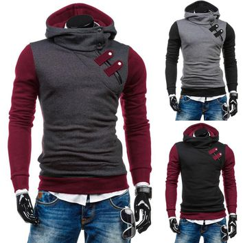 Men's Slim Hoodie Warm Hooded Sweatshirt Side Zip Sweater Coat Jacket Outwear