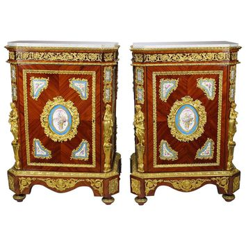 Pair of French Napoleon III Figural Ormolu and Porcelain Mounted Side-Cabinets