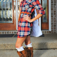Kickin' Up My Boots Plaid Tunic Dress: Red/Navy