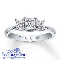 Leo 3-Stone Diamond Ring 1 ct tw Princess-cut 14K White Gold