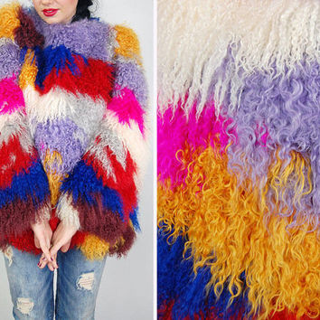 1980s vintage super rare mod trophy vtg RAINBOW Multi-Color statement new look colorful MONGOLIAN Lamb fur Tibetan avant grade Jacket coat S
