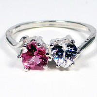 White Topaz and Pink Sapphire Double Heart Ring Sterling Silver, September Birthstone Ring, Two Stone Ring, Friendship Ring, Mother's Ring
