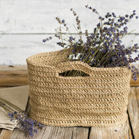Eco Friendly Natural Jute Herb Basket, Gardening, Crafts Knitting Storage, Rustic Home Decor, French Country, Farmhouse, Cottage Chic