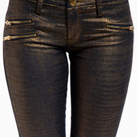Blank Gold Printed Skinny With Zippers $92