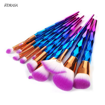 12Pcs Blusher Makeup Brush set Foundation Eyeshadow Powder Cosmetic Brushes Rainbow Contour Blending Make-up Brush Kit