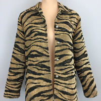Vintage Animal Print Coat African Print Short Coat Womens Coats Tiger Print Safari Tiger Stripes Edgy FREE SHIPPING Medium Womens Clothing