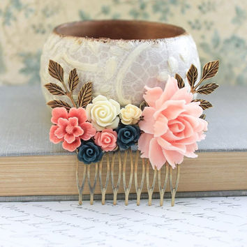Pink Rose Comb Coral Bridal Hair Comb Beach Wedding Hair Accessories Navy Blue Floral Comb Country Chic Bridal Accessories Romantic Pretty