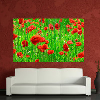 Canvas Red poppy Digital printed Home decoration