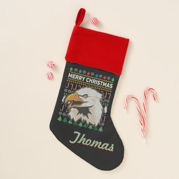 Personalized Eagle Ugly Christmas Sweater Christmas Stocking