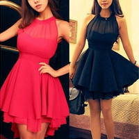 NEW Women Sleeveless Backless Chiffon Party Prom Short Dress