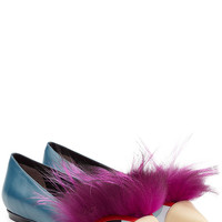 Fendi - Leather Ballerinas with Fox fur