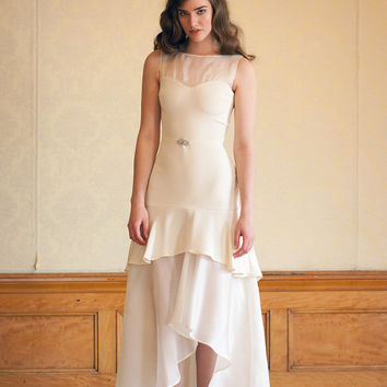 1920s Gatsby Inspired Short Wedding Dress in Ivory Silk Crepe and Organza - Handmade Wedding Gown - Andromeda