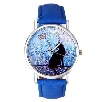 Lovely Women Small Quartz Watch With Cat Butterfly PU Leather Band