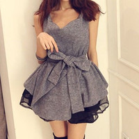 Grey V-Neck Sleeveless Organza Dress with Belt
