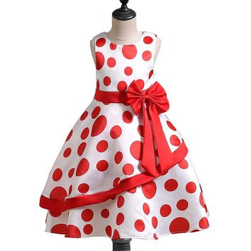 1-10 Years Baby Girls Princess Retro Dress polka dot Bow Birhtday Party Wedding 2018 New Dresses Kids Frocks vestido infantil