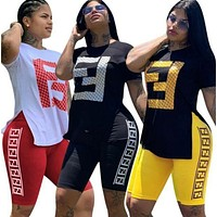 FENDI Womens Casual Fashion Shirt Top Tee Shorts Set Two-Piece 3746