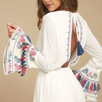 Island of Capri White Embroidered Long Sleeve Romper
