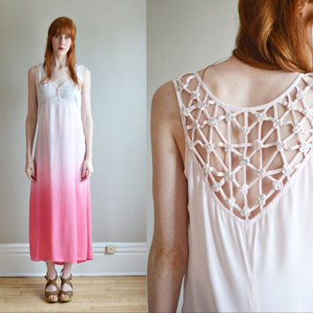 Vtg 90s pink OMBRE silky mermaid maxi dress // SHEER fishtail train pastel rosette cut out LATTICE work maxi dress
