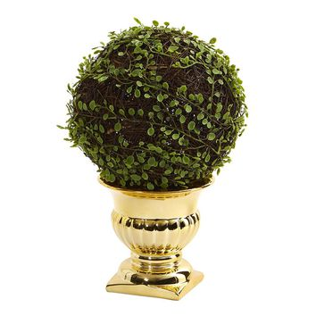 Silk Flowers -Mohlenbechia Ball Topiary In Gold Urn Artificial Plant