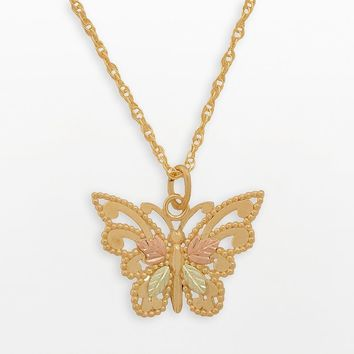 Black Hills Gold Tri-Tone Butterfly Pendant (Yellow)