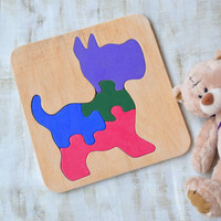 Wooden puzzle Dog Baby Toy Montessori Educational Toys Animal wooden puzzles Organic kids learning game Toddler wood Baby Shower Gift Eco