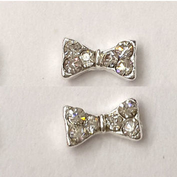 2pc Sliver 3D Nail Art Bow Bowtie Bow Tie Ribbon Nail Gems Nail  Rhinestones  Nail Art Pair Them With Our Great Nail Decals