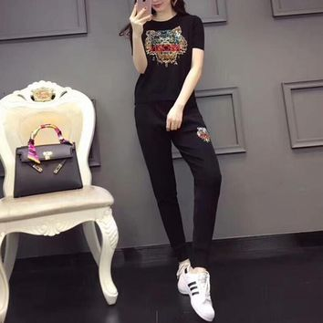"""Kenzo"" Women Casual Fashion Knit Hot Fix Rhinestone Tiger Head Short Sleeve Trousers Set Two-Piece Sportswear"