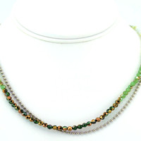 """""""Emerald Ocean"""" - Women's Handmade Crystal wrapped Necklace"""