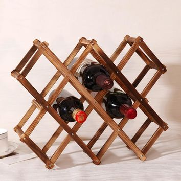 Wooden Red Wine Rack 3/6/10 Bottle Holder Mount Bar Display Shelf Folding Wood Wine Rack Alcohol Neer Care Drink Bottle Holders